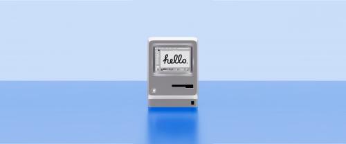 An Apple computer greeting in human language